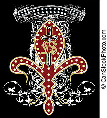 symbol, zbraň, design, meč