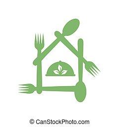 symbolizing, logo-, restaurace, evropský, vegetarián, organický food, svaz, držet dietu, výčep, přátelský, porce, nebo, list