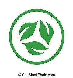 symbolizing, vegetarián, organický, držet dietu, přátelský, emblém, list