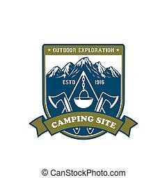 Tábor a venkovní návrhovací odznak