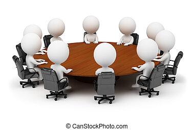 Tři malí lidé - sezení za stolem