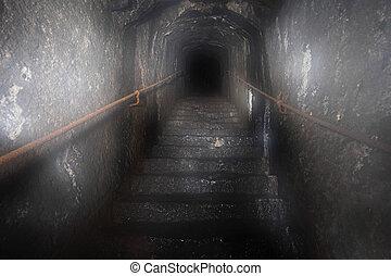 tajemství, tunel, ponurý, schodiště, aut