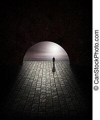 tajemství, tunel, voják