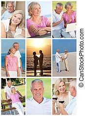 tajný, romantik, montáž, kuplovat vyklizení, starší, šťastný