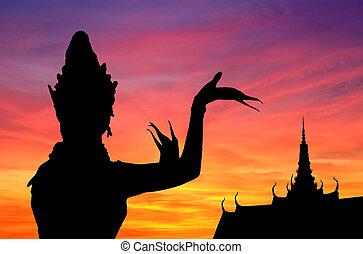 tanec, západ slunce, thai