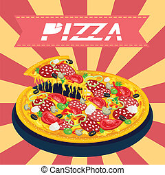 Tasty pizza retro