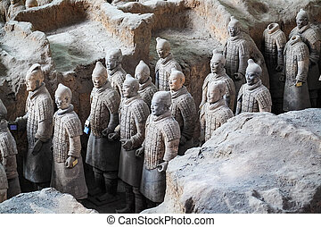 terakotový, válečníci, xian