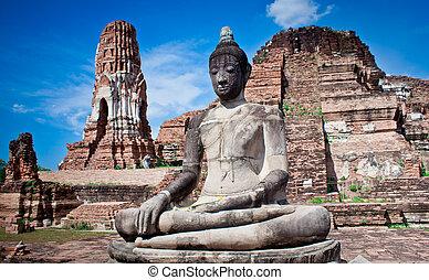 thailand., socha, buddha, mahatat, wat, ayutthaya
