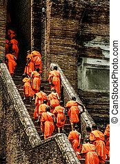 thajsko, ayutthaya, mnisi