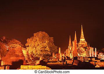 thajsko, ayutthaya, starobylý, chrám