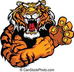 tiger, podoba, vektor, talisman