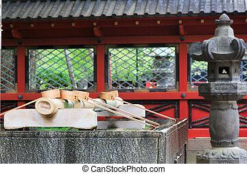tokio, 2014:, -, červen, očistit, shinto, temple., mísa, přibližně, shrin