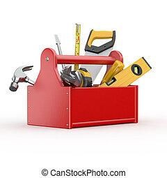 tools., kladívko, překroutit, skrewdriver, toolbox, handsaw