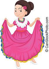 tradiční, děvče, obléci