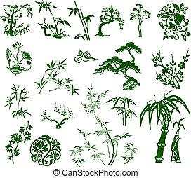 tradiční, klasik, bambus, číňan, inkoust