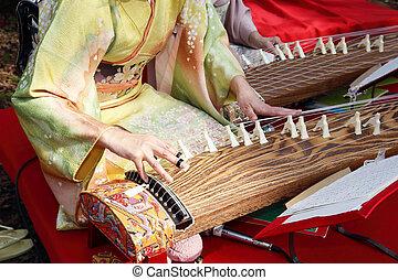 tradiční, nástroj, japonština
