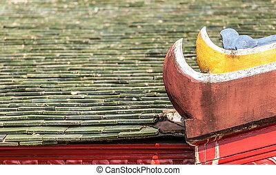 tradiční, vietnam., detail, střecha, východní