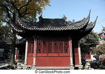 Tradická čínská budova v yuyuanské zahradě, shanghai porce