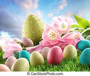 tulipán, velikonoční tráva, vejce