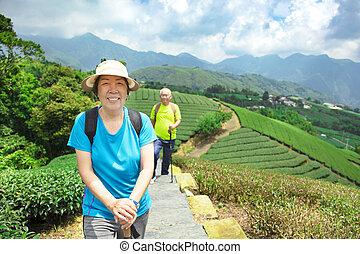 turistika, druh, dvojice, asijský, starší, šťastný