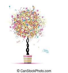 tvůj, obláček, dovolená, komický, strom, šťastný, hrnec, design