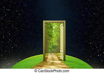 tvořivost, dveře, povzbuzující trávení, hlína, obrazotvornost