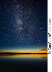 Twilight sky with star.