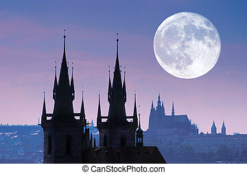tyn, silueta, čech, část, praha, silný, republika, církev, night.