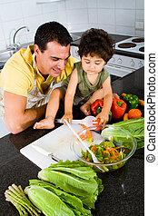 učení, batole, otec, vaření, syn