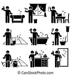 ubytovat se, mytí, čištění