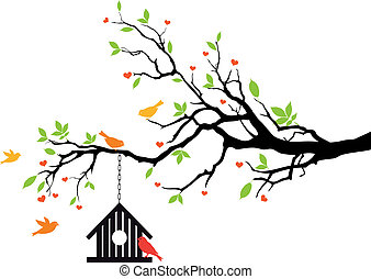 ubytovat se, pramen, vektor, ptáček, strom