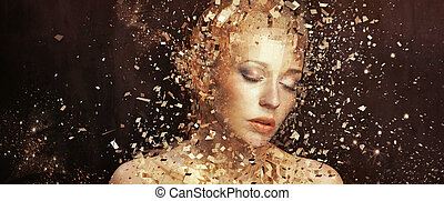 Umělá fotka zlaté ženy, která se třísí na tisíce prvků