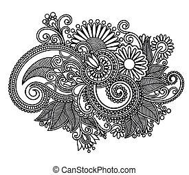umění, ozdobený, design, květ, řádka