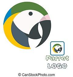 umění, papoušek, ilustrace, vektor, žert, emblém