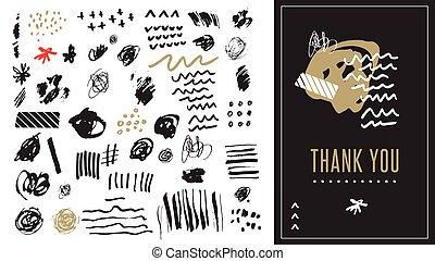 umění, tvořit, rukopis, vektor, čerň, nahý, doodles, neposkvrněný, základy