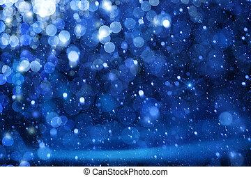 Umění vánoční světla na modrém pozadí