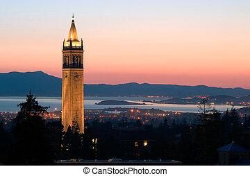 univerzita, berkeley, věž, sather