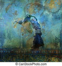 Upravená žena s barevnými šaty, která fouká na písku. Měsíce a hvězdy. Fotografická ilustrace.