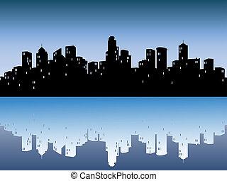 Urbanské oblohy s odrazem