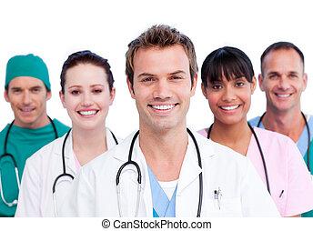 usmívaní, lékařský četa, portrét
