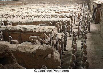 válečníci, terakotový, xian, muzeum