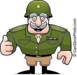 válečný, karikatura, generál, up, palec