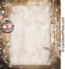 Vánoční pozadí s prázdným papírem