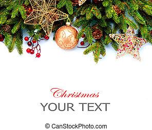 Vánoční výzdoba. Prázdné dekorace izolované na bílém pozadí. Pohraniční design