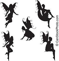 víla, vektor, 5, silhouettes