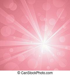 Výbuch světla s lesknoucími tečkami, abstraktními abstraktními stíny růžovo. Používejte radiální a lineární klasiky, globální barvy. Žádné transparáty. Umělá skupina a vrstva.