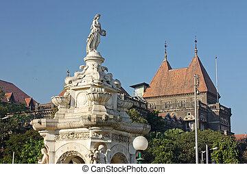 východní building, mumbai, piazza, (, ), slavný, květena, kašna, asie, bombaj