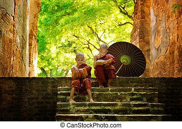 výklad, buddhista mnich, venku