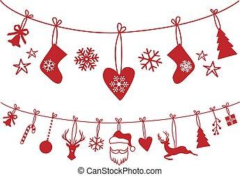 výzdoba, vektor, dát, vánoce punčocha
