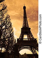 věž, eiffel, západ slunce